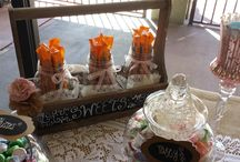 Vintage Garden Theme Candy Buffet / Beautiful soft pastels give this candy buffet a soft , elegant look