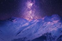 Ночное небо, звёзды, снег