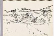 Diebenkorn, Page 005 from Sketchbook # 08 [landscape, line drawing]