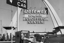 Vintage cars, gasstations in B/W