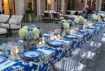 blue white table settings