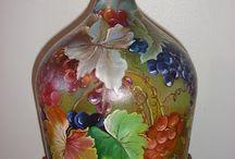 Bottiglie, damigiane dipinte e decorate