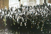 ATATÜRK YOLU / Yüzyılın çağrısı bu: tatlı, düş kutsal emek, Dimdik adımlardayız: yolumuz sonsuza dek Duygumuz, sevgimiz bir, ülkümüz, andımız tek: Yaşamak Atatürk'ü, Atatürk'ü söylemek Uzanıyor çağlara destanlaşan yüce Türk, Yaşama sevincimiz büyük önder Atatürk.