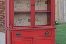 Red cupboards