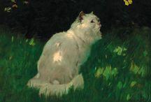 Peintre (Arthur Heyer) / Chats blancs