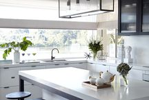 Modern Industrial Kitchen / Beautiful light filled kitchen featuring Bianco Venato Quartz benchtops & splash back. (QUANTUM QUARTZ) Designer: Horton & Co Design.  Photography: Jane Kelly