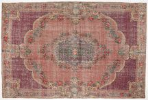 Vintage overdyed faded wool rugs