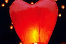 Flying heart Chinese lanterns