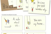 Packets of Love / Hand stamped & Hand Colored envelopes with love note cards