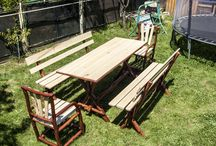 "Rustic Handmade Garden Set "" Table for 8"""