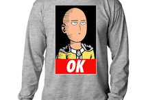 Saitama Japan Anime Manga One-Punch Man Mens Unisex Crew Neck T-Shirt