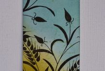 """Stamp:Wheat by Woodware / Handmade cards featuring the stamp""""Wheat"""" by Woodware."""