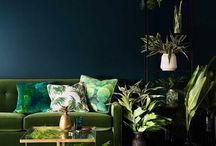 Greenery Deco / Tablero de inspiración. Decoración en greenery de Pantone. Interiores en clave verde.