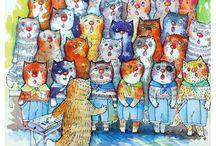 Cat story / Favorite pets on postcards
