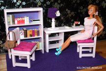 KOLOROWE MEBELKI DLA LALEK / Ręcznie robione mebelki dla lalek typu barbie.