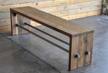 Rustic and Industrial Furniture / Wood and Metal combinations. Rustic reclaimed wood uses.