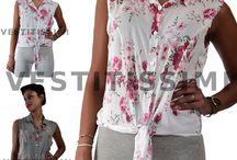 Camicia camicetta donna maglia maglietta sexy chiffon fiori floreali top M-Ca02