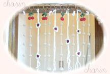 ニットのれん 暖簾 / ニットのボンボンやお花を使ったのれん