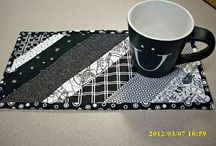 Black and white and one colour patchwork / Patchwork and quilting using mostly black and white, with one or two other colours.