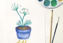Herb botanical prints