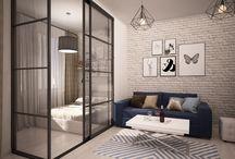 Скандинавский LOFT в однокомнатной квартире. / Проект однокомнатной квартиры  создан для молодой девушки с множеством увлечений. Задача создать уютное пространство с отдельной спальной зоной. Стилистические мотивы- гжель, пэчворк, оттенки синего цвета, сочетание скандинавского стиля с элементами лофта. Мы заложили большую гардеробную комнату,отдельную  прихожую. Спальное место отгородили стеклянными перегородками. Для проектора отведено отдельное пространство- большая белая стена.