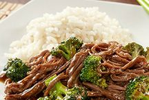 Flank ,slow cooker +brocoli