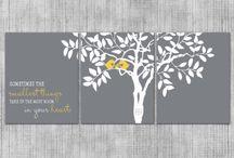 Grey and yellow love birds nursery decor / Grey and yellow love birds nursery decor, custom love birds nursery, baby boy room, little girls nursery, above the crib art, gender neutral nursery decor