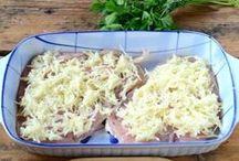 csirkemell sajttal, burgonyâval