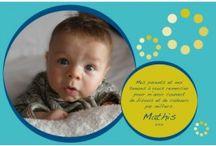 cartes de remerciement et faire-part de naissance / Carte de remerciement pour shower de naissance et faire-part de naissance numérique.