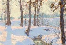 ruscello nella neve con sole