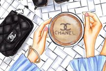 Chanel fashion illustrasion & food