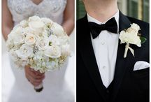 Gorgeous Ivory and Gold- Elyse and Ross' Wedding / Such a gorgeous wedding. Classic ivory roses and hydrangeas with gold baby's breath and brooch accessories.