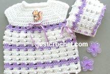 Crochet baby dress & bonnets