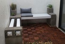 Garden seat using concrete block