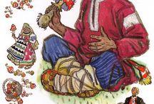 Русские сказки / лаковая миниатюра, сказка, иллюстрация, картинка, картина, арт, рисунок, Палех, Федоскино, Россия,