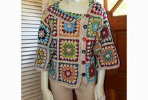 Crochet granny square garments