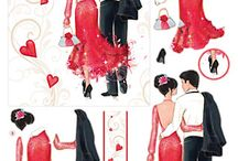 The Romance Collection / A range of die-cut découpage and toppers featuring romantic images.