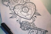 Inkspiration - Right Arm / Locket with key and ribbons/banner with 3 spots for names (Bradley + 2 blank for children in future), hourglass/stopwatch design, and....?