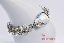 Chainmaille Bracelets / Bransoletki wykonana techniką chainmaille z metalowych ogniwek i kryształów Swarovskiego.