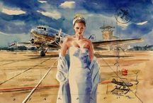 Небо самолёт девушка