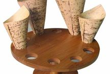 Cone Holders & Cone Displays / Our sturdy food cone holders are the perfect way to display cones. Made of bamboo and reusable they are eco-friendly and very elegant.