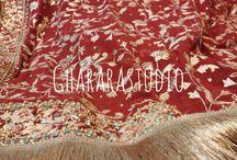 Dupatta embroidery / Intricate work on dupatta. We specialises in zari, dabka, Kundan, stones, Swarovski hand work embroidery on Gharara and dupatta.