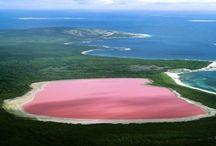 Hillier Lake Australia / Lacul Hillier este un lac de culoarea roz aflat chiar la marginea celei mai mari insule din Australia, din Arhipelagul Recherché. Practic se afla la doar cativa pasi  de oceanul colorat normal. Oamenii de stiinta nu pot determina cu exactitate originea culorii roz a lacului, insa acestia speculeaza ca ar fi cauzata de reactia sarii de mare si a bicarbonatului de sodiu. Astfel ca lacul seamana cu o adevarata ferma subacvatica de capsune.