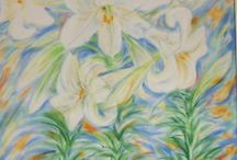 My flower paintings / All my flower paintings are inspired from the flora of my garden and the island in blossom in spring. The technique is mostly pastel, as well as aquarella or mixed.