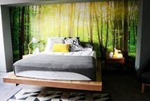 Forest Wallpaper Mural / A forest wallpaper mural adds that special bit of magic to a room. It draws you in straight away and creates a peaceful and relaxed mood inspired by nature herself. http://www.wowwallpaperhanging.com.au/forest-wallpaper-used-by-bec-and-george-the-block-sky-high/