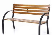 Garden Bench Patio Outdoor Furniture Modern Design Furniture Wooden Black Metal