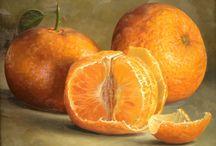 oleos bodegones con frutas y verduras
