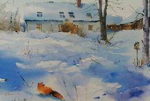 Aquarelle hiver