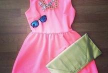 Pink Dress & Necklace & Sunglasses & Purse