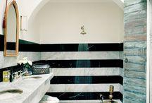 Master Bath / New floors  White walls Paper wc Update shower Bigger mirrors Hooks